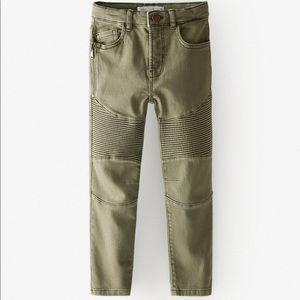 Zara 2020 biker jeans army green
